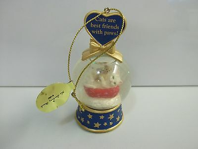 Danbury Mint CATS Are Best Friends w/ Paws /Teddy Bear SNOW GLOBE Xmas Ornament