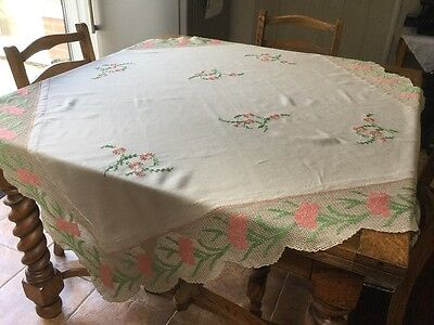 Beautiful Hand Embroidered Vintage Tablecloth With Crochet Edging
