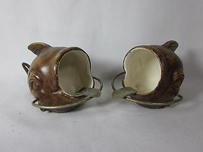 2 Vintage Brown Ceramic Fish Shaped Ashtray Open Mouth Gold Tone Metal Rest