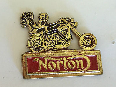 Vintage Sculpted Norton Motorcycle with 2 Riders B old metal badge