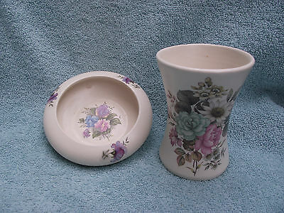 Purbeck Pottery - Small Dish and Vase - Floral Design on Both
