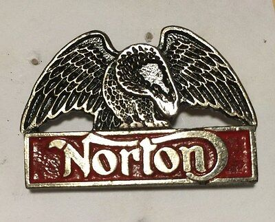 Vintage Sculpted Norton Spanning Eagle P1 Motorcycle old metal badge