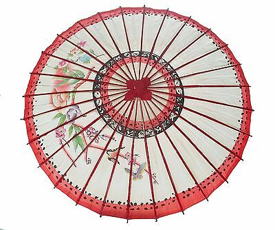 "Vintage~Oriental Red Paper Parasol Butterfly & Floral Design 31"" Japanese-VGC"