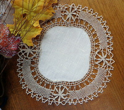 Antique Handmade Doily Cream Linen Edged With Ecru Handmade Bedfordshire Lace