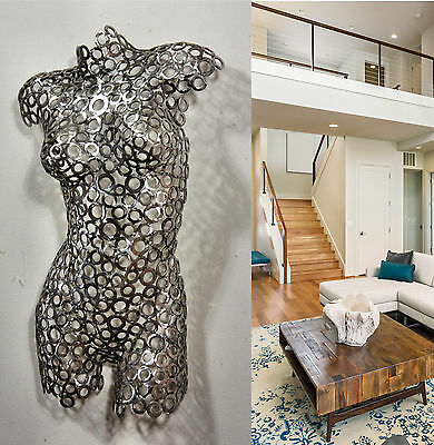Abstract Metal Wall Art Home Decor Female Sculpture Nude Torso contemporary