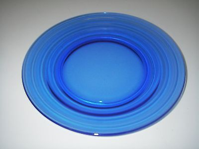 "Hazel Atlas Glass MODERNTONE transparent Cobalt Dinner Plate 9"" Depression"