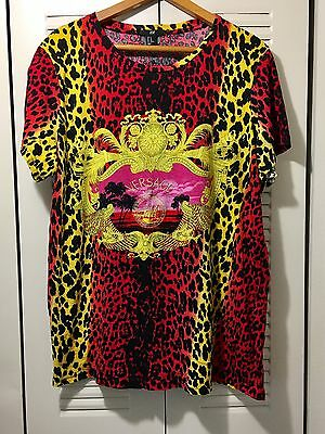 VERSACE for H&M Shirt Animal Print Leopard Embroidered T- Shirt Size XL