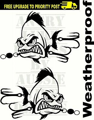 FISHING 4X4 BOAT fish stickers X2 MARINE PARTS Lure tackle DECALS