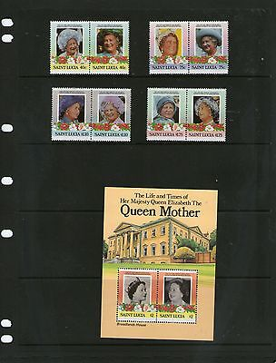 St. Lucia 1985 Queen Mother MNH Set + M/S