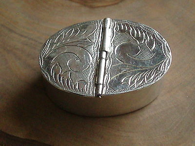 Vintage Sterling Silver Engraved Double Pill Box
