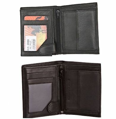Mens Gents Real Soft Genuine Leather Wallet with Press Stud and Coin Compartment