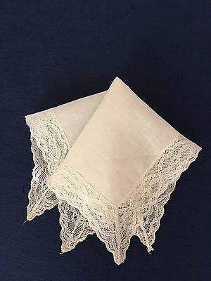 Vintage Linen Cream Handkerchief With Lace Border Wedding Collectable