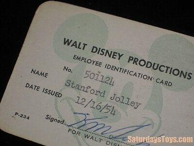 1954 Walt Disney Studio Disneyland WED Enterprises Employee ID Card Stan Jolley