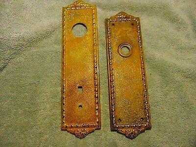 Vintage HEAVY CAST/BRASS STEAMPUNK RAISED DOOR KNOB BACK PLATES NO KEY HOLES
