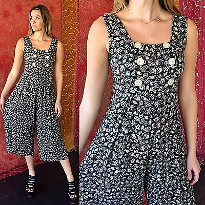 Vintage 80s Abstract Palazzo Jumpsuit Teacup Print Party Hippie Festival