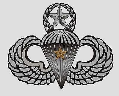 Us Army Jump Master Wings With Combat Star (One Jump) Sticker !!