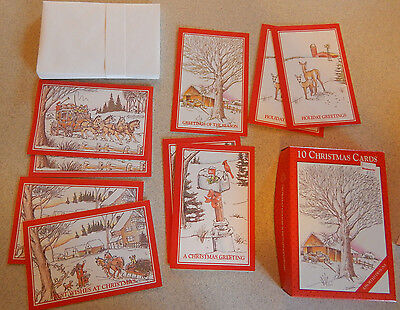 Box of 9 Vintage Christmas Cards By Fantus Fantusy Unused New Old Stock #H