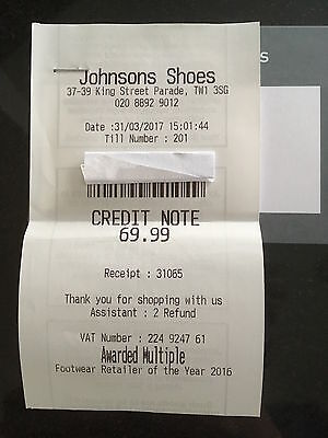 Johnsons shoes 69.99 CREDIT NOTE