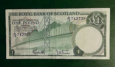 THE ROYAL BANK OF SCOTLAND ONE POUND BANKNOTE P329a 1st LIMITED ISSUE 1969 VF+