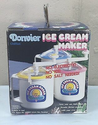 Donvier 2 Pint Hand Crank Chill fast Yellow Ice Cream Maker