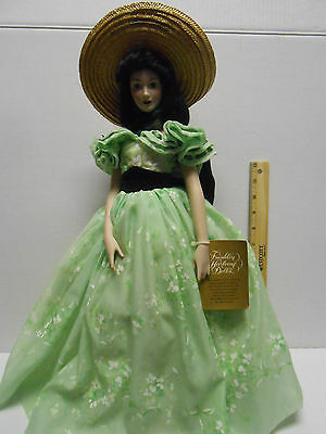 """Vivien Leigh Scarlett O'Hara Franklin Mint Porcelain 19"""" Doll Gone With the wind"""