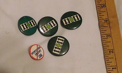 vintage lot of 4 Green Cross Railroad Lapel Buttons Pins and one CSX personal
