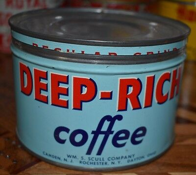 Deep Rich One Pound Antique Vintage Coffee Tin Can