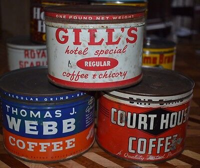Gill's Thomas J Webb Court House One Pound Antique Vintage Coffee Tin Can Cans