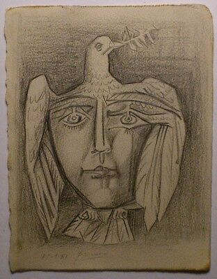 Pablo Picasso Antique Handmade Drawing Signed Dated 3 Days Only