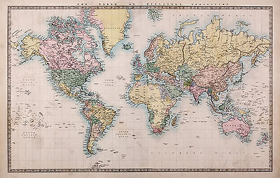 map of world full canvas print A0 world globe art painting