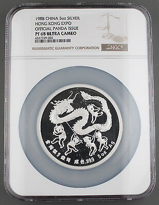 1988 China 5 Oz Silver Proof Medal Hong Kong Coin Expo NGC PF68 Ultra Cameo Rare