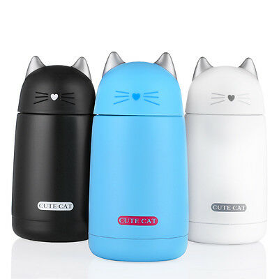 Mini Vacuum Mug Cute Cat Kid Thermos Stainless Steel Hot Water Bottle Travel Cup
