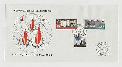 Malta International Year For Human Rights First Day Cover  02/05/1968  New