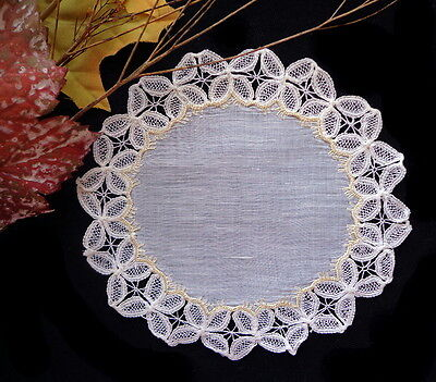 Antique Society Silk Embroidery With Lovely Lace - Hand-Embroidered Linen Doily