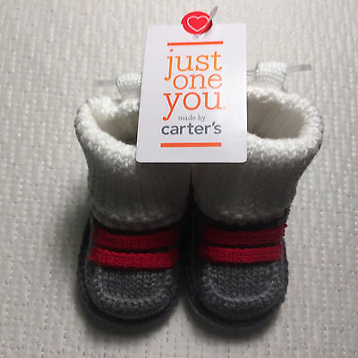 Just One You By Carter's Newborn Boy's Bootie/Socks-Gray/Red/White  NWT