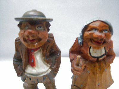"""Vintage Hand Carved Wood Wooden Old Man & Woman Figures 4.5"""" tall"""