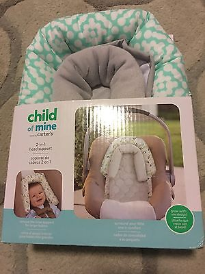 Child of Mine by Carter 2-1: Baby/Infant Carseat Head Support (Gray/Teal/White)