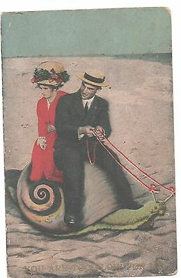 You Are Too Slow for Us, Fantasy, Couple Riding Giant Snail, pm 1912