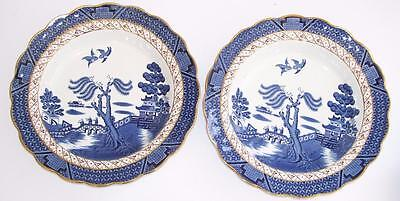 """Booths """"Real Old Willow"""" A8025 Pair of Rimmed Soup Bowls."""