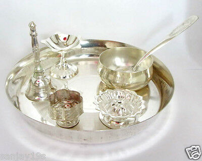 Silver Finished Plated Pooja Thali Set With 6 Puja Items For Puja,religious Gift