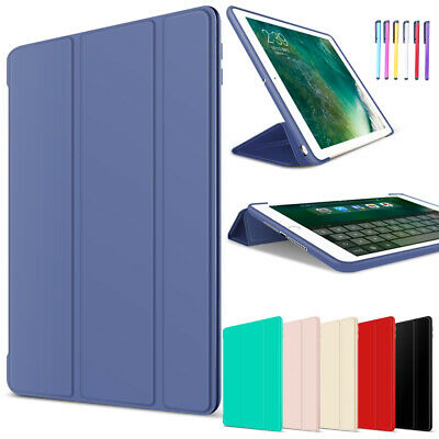 For iPad 9.7 2017/Air 2 Luxury Smart Slim Leather + Soft Rubber Stand Case Cover
