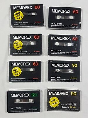8 x Random Blank Cassette Tapes / Factory Sealed / Memorex