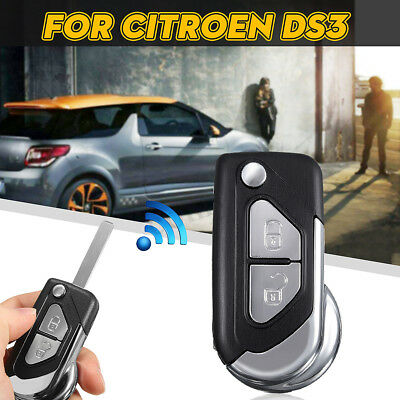 For Citroen DS3 Remote Flip Key 2 Buttons Fob Case + Uncut Blade Replacement
