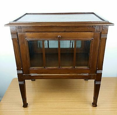 Antique French Liquor Cabinet Display Beveled Glass/wood