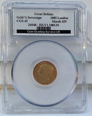1885 Young Head HALF SOVEREIGN 22ct GOLD SCARCE VERY FINE CGS 45 Grade MARSH 459
