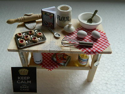 (Hh12) Dolls House Handmade Kitchen Preparation Table With Accessories