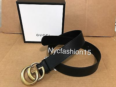 New Authentic Black Gucci Leather Belt With Double G Buckle 105cm 36-38 Waist