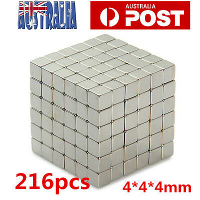 216pcs Magnets Blocks Rare Earth Cubes Neodymium Super Strong Magnet 4mm AU