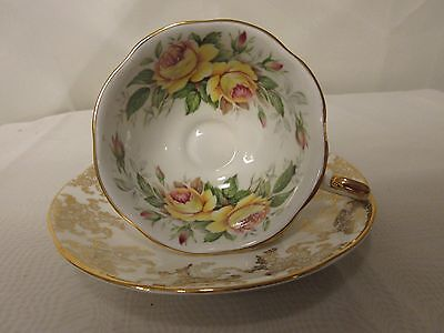 Queen's Rosina Fine Bone China Teacup & Saucer Yellow Roses Gold