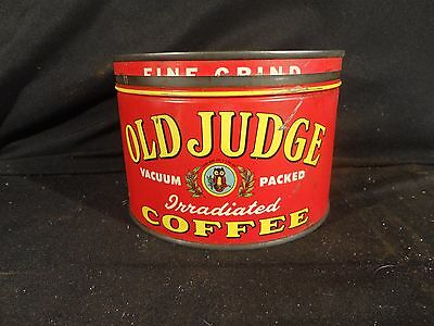 Vintage 1 Lb. Key Wind Old Judge Coffee Can Tin  Correct Lid